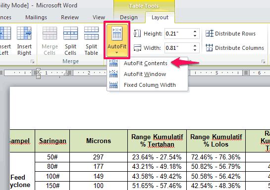 Cara Agar Tabel Excel yang Panjang Muat di Microsoft Word 2010
