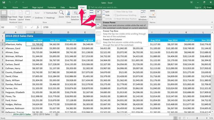 Cara Freeze Dan Unfreeze Kolom Dan Baris Di Microsoft Excel F