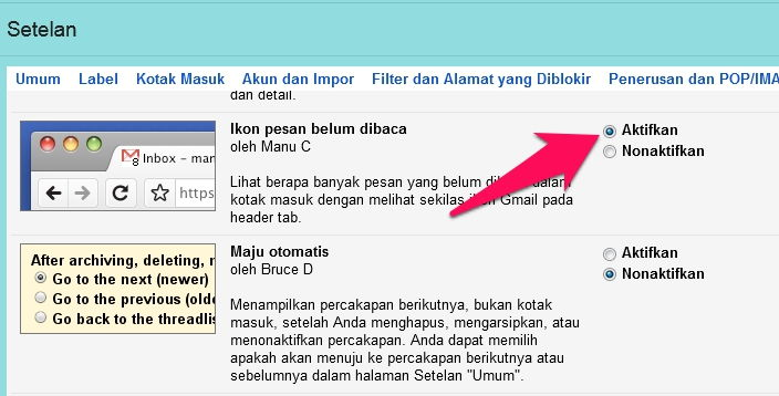 Cara Munculkan Ikon Unread Message Di Tab Gmail 3
