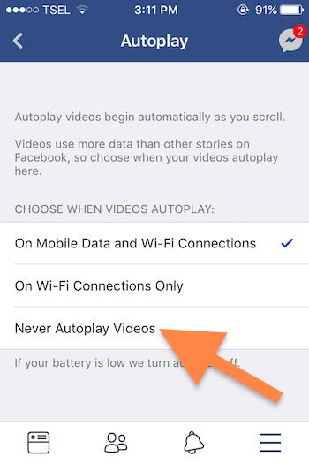 Cara Nonaktifkan Video Yang Diputar Otomatis Di Aplikasi Facebook Ios 6