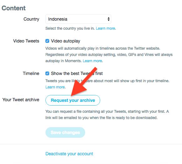 Cara Backup Semua Postingan Di Twittter 1