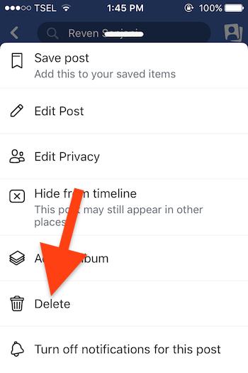 Cara Hapus Postingan Di Facebook 3