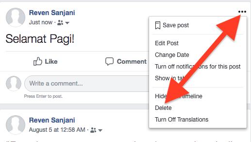 Cara Hapus Postingan Di Facebook