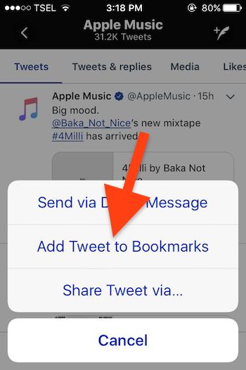 Cara Menggunakan Fitur Bookmarks Pada Twitter 1