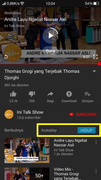 Cara Nonaktifkan Fitur Autoplay Youtube Di Android 5