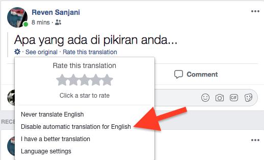 Cara Nonaktifkan Terjemahan Otomatis Pada Postingan Di Facebook 1