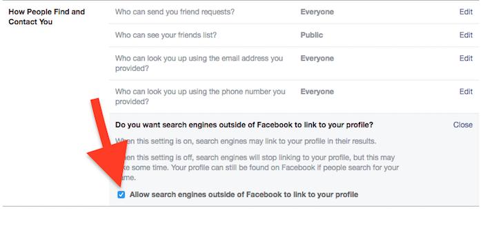 Cara Sembunyikan Akun Profil Di Pencarian Facebook 10