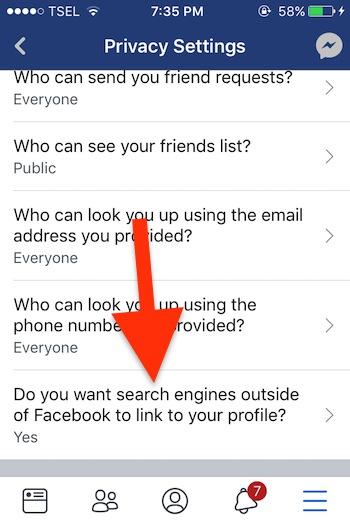 Cara Sembunyikan Akun Profil Di Pencarian Facebook 4