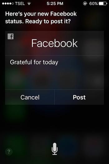 Cara Update Status Facebook Menggunakan Siri 1