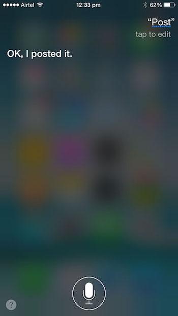 Cara Update Status Facebook Menggunakan Siri 2