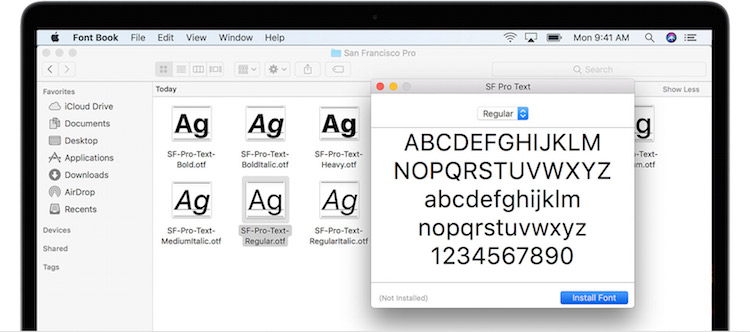 Mac Font Teks