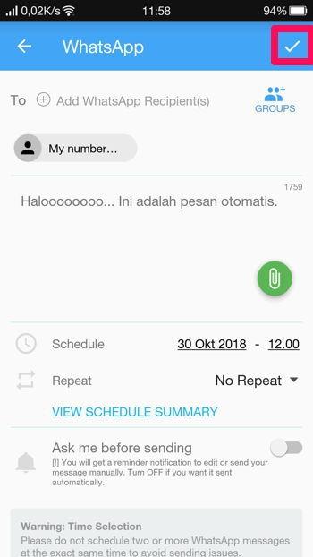 2 Cara Membuat Pesan Terjadwal Di Whatsapp Android 10