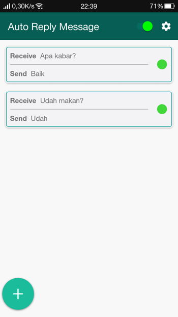 Contoh Penggunaan Fitur Auto Reply Message Gbwhatsapp