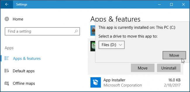 Cara Install Atau Pindahkan Aplikasi Ke Drive Lain Di Windows 10 3
