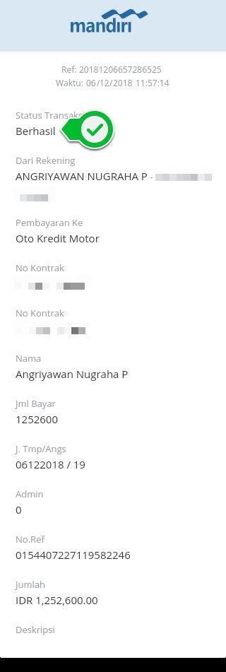 Cara Bayar Angsuran Oto Kredit Motor Via Aplikasi Mandiri Online 14