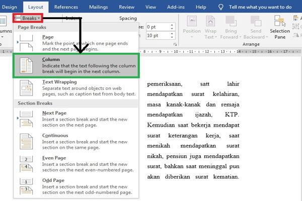Dasar Penggunaan Breaks Di Microsoft Word 6