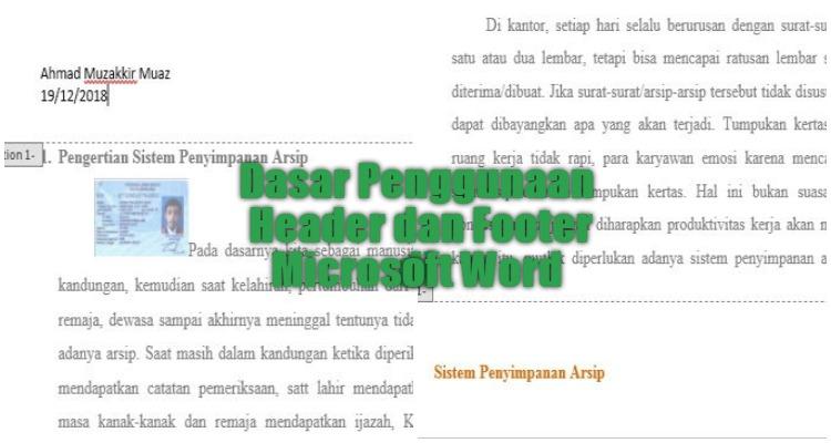 Dasar Penggunaan Header Dan Footer Di Microsoft Word 0