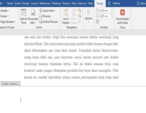 Dasar Penggunaan Header Dan Footer Di Microsoft Word 5