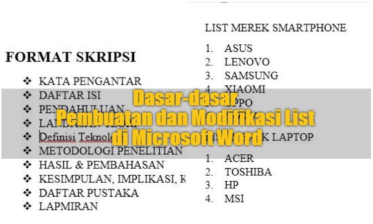 Dasar Dasar Pembuatan Dan Modifikasi List Di Microsoft Word 0
