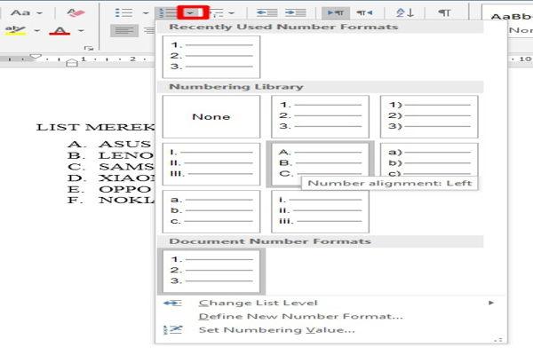 Dasar Dasar Pembuatan Dan Modifikasi List Di Microsoft Word 10