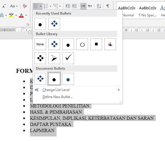 Dasar Dasar Pembuatan Dan Modifikasi List Di Microsoft Word 17