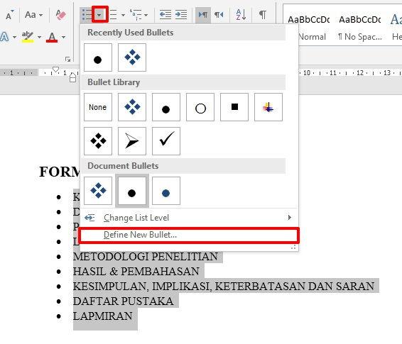 Dasar Dasar Pembuatan Dan Modifikasi List Di Microsoft Word 21