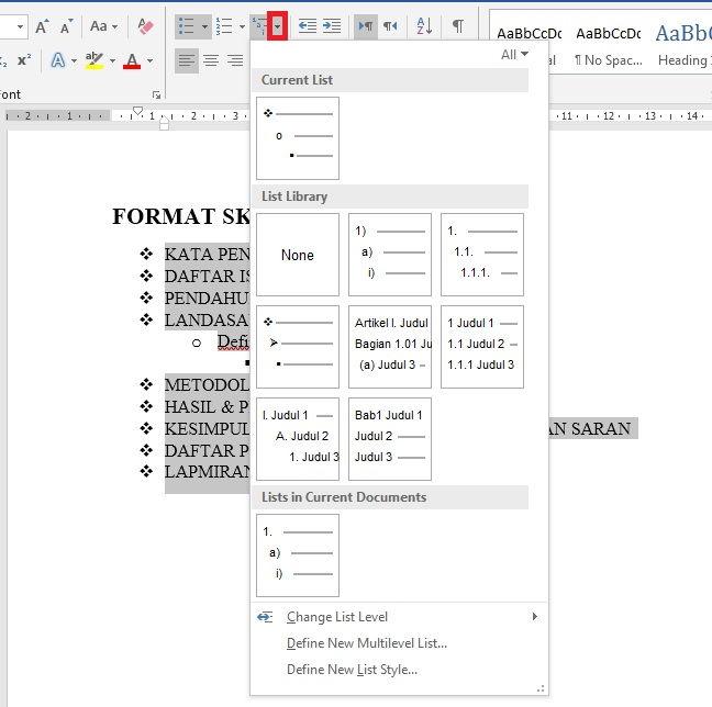 Dasar Dasar Pembuatan Dan Modifikasi List Di Microsoft Word 33