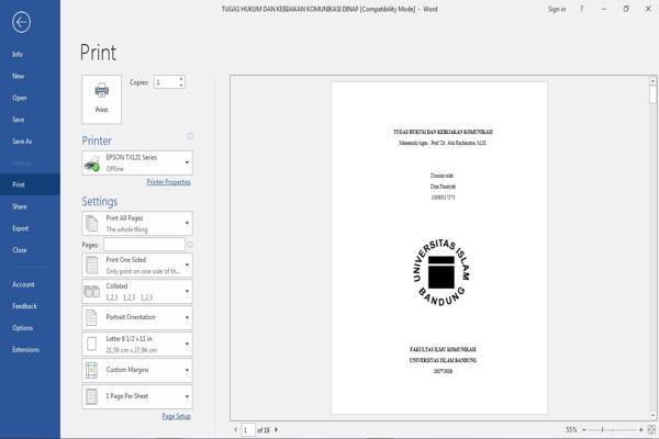 Dasar Dasar Printing Dokumen Pada Microsoft Word 1