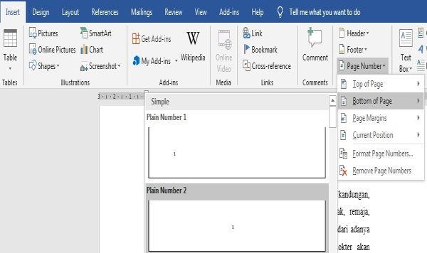 Panduan Penggunaan Page Number Di Microsoft Word 2