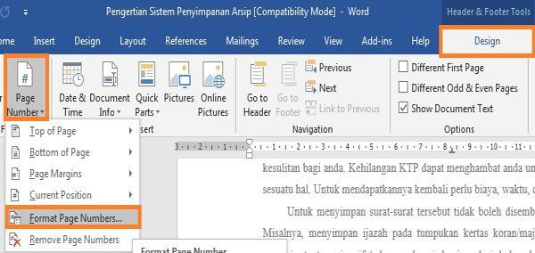 Panduan Penggunaan Page Number Di Microsoft Word 6